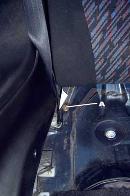 Upper portion of the rear seat